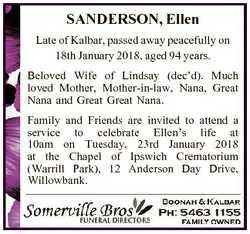 SANDERSON, Ellen Late of Kalbar, passed away peacefully on 18th January 2018, aged 94 years. Beloved...