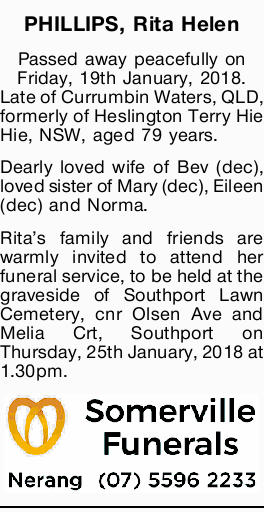 Passed away peacefully on Friday, 19th January, 2018.