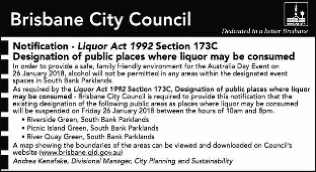 Notifi cation - Liquor Act 1992 Section 173C
