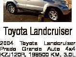 Toyota Landcruiser 2004 Toyota Landcruiser Prado Grande Auto 4x4 KZJ120R, 198500 KM, 3.0L Turbo Diesel, Silver, 8 seats, GPS navigation system, multi zone climate control, leather seats, powered sunroof, cruise control, Need it sold ASAP, Rego BHR04S, Vincentia $11,000 E: gailpetergh@yahoo.com Ph: 02 8007 4576