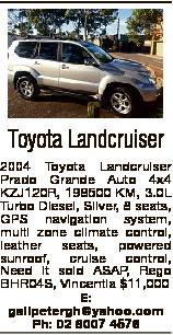 Toyota Landcruiser 2004 Toyota Landcruiser Prado Grande Auto 4x4 KZJ120R, 198500 KM, 3.0L Turbo Dies...