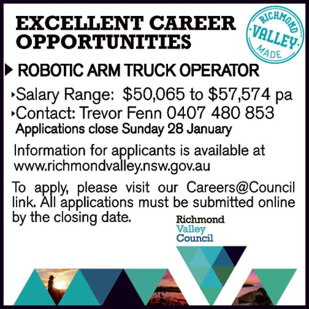 EXCELLENT CAREER OPPORTUNITIES   ROBOTIC ARM TRUCK OPERATOR   Salary Range: $50,065 to $5...
