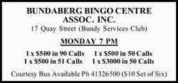 BUNDABERG BINGO CENTRE ASSOC. INC.   17 Quay Street (Bundy Services Club)   MONDAY 7 PM 1...