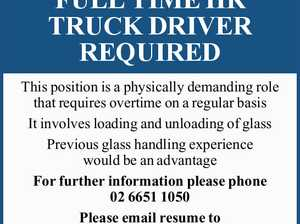 FULL TIME HR TRUCK DRIVER REQUIRED