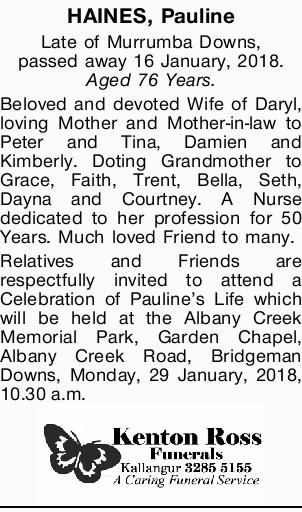 Late of Murrumba Downs, passed away 16 January, 2018.