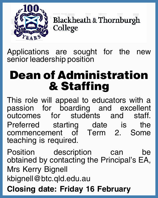 Applications are sought for the new senior leadership position