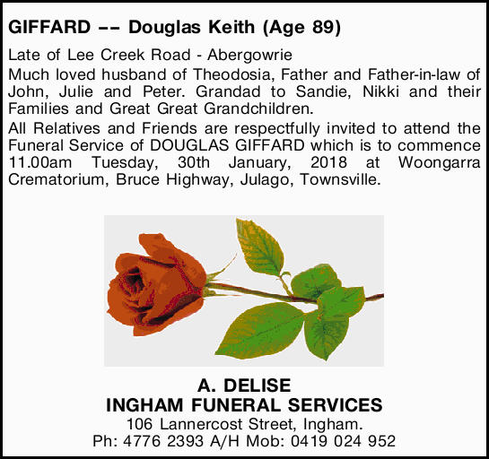 GIFFARD Douglas Keith (Age 89)