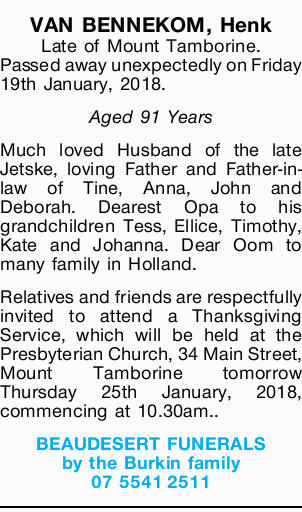 VAN BENNEKOM, Henk