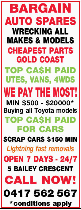 BARGAIN AUTO SPARES    WRECKING ALL MAKES & MODELS  CHEAPEST PARTS GOLD COAST ...