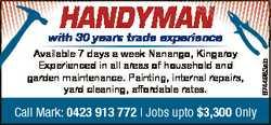 Handyman H Ha Han a man Available 7 days a week Nanango, Kingaroy Experienced in all areas of househ...