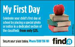 Celebrate your child's first day at school by placing a special photo or notice in a dedicated s...