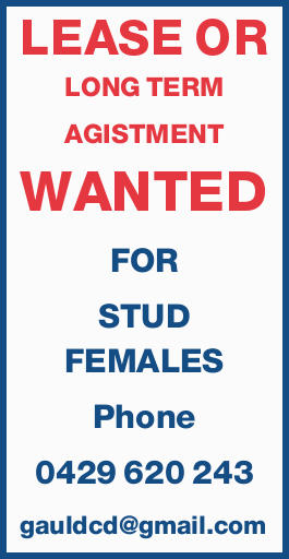 LEASE OR LONG TERM AGISTMENT WANTED FOR STUD FEMALES   Phone 0429 620 243   Email: ...
