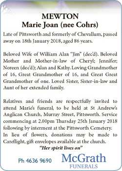 MEWTON Marie Joan (nee Cohrs) Late of Pittsworth and formerly of Chevallum, passed away on 18th Janu...