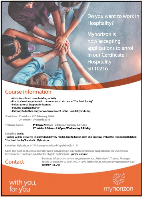 Myhorizon is now accepting applications to enrol in our Certifi cate I Hospitality SIT10216   ...