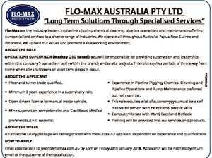 """FLO-MAX AUSTRALIA PTY LTD """"Long Term Solutions Through Specialised Services"""" Flo-Max are the industry leaders in pipeline pigging, chemical cleaning, pipeline operations and maintenance offering our specialised services to a diverse range of industries. We operate all throughout Australia, Papua New Guinea and Indonesia. We uphold our values and promote ..."""
