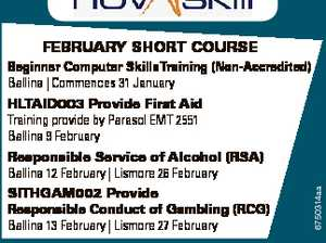 FeBRuARy SHoRT CouRSe Beginner Computer SkillsTraining (Non-Accredited) Ballina | Commences 31 January HLTAID003 Provide First Aid Training provide by Parasol EMT 2551 Ballina 9 February SITHGAM002 Provide Responsible Conduct of Gambling (RCG) Ballina 13 February | Lismore 27 February To enrol please call 6600 3000 or visit www.novaskill.com.au NORTHERN ...