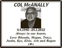 COL McANALLY 4.4.194824.1.2012 Always in our hearts. Love Rhonda, Megan, Tracy, Justin, Kye, Elsie,...