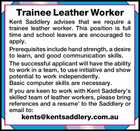 Trainee Leather Worker