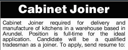 Cabinet Joiner required for delivery and manufacture of kitchens in a warehouse based in Arundel....