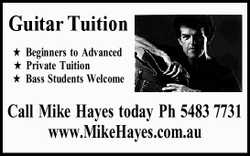 Guitar Tuition ★Beginners to Advanced ★Private Tuition ★Bass Students Welcome Call Mike Hayes tod...