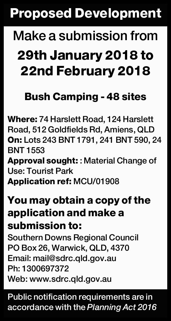 Proposed Development Make a submission from 29th January 2018 to 22nd February 2018 Bush Camping...