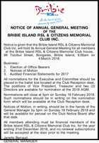 THE BRIBIE ISLAND RSL & CITIZENS MEMORIAL CLUB INC.