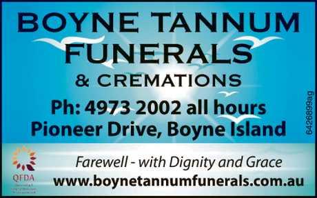 <p> Ph: 4973 2002all hours </p> <p> Pioneer Drive, Boyne Island </p> <p> <em>Farewell ...</em></p>
