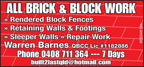 Rendered Block Fences  Retaining Walls & Footings  Sleeper Walls  Repair W...