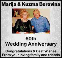 Marija & Kuzma Borovina   60th Wedding Anniversary   Congratulations & Best Wishe...