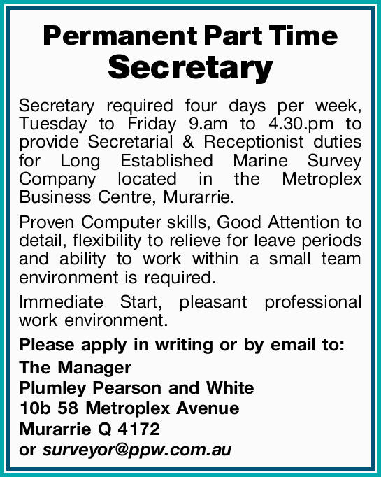 Permanent Part Time Secretary