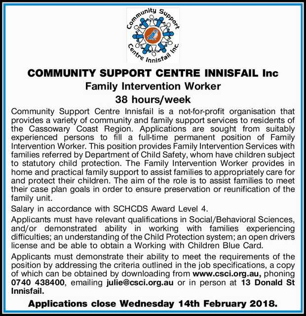 COMMUNITY SUPPORT CENTRE INNISFAIL Inc   Family Intervention Worker   38 hours/week   ...