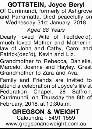 GOTTSTEIN, Joyce Beryl