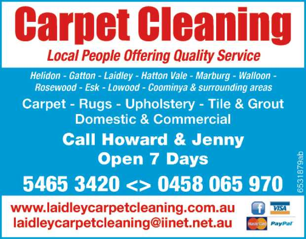 Carpet Cleaning Local People Offering Quality Service Helidon, Gatton, Laidley, Hatton Vale, Marb...