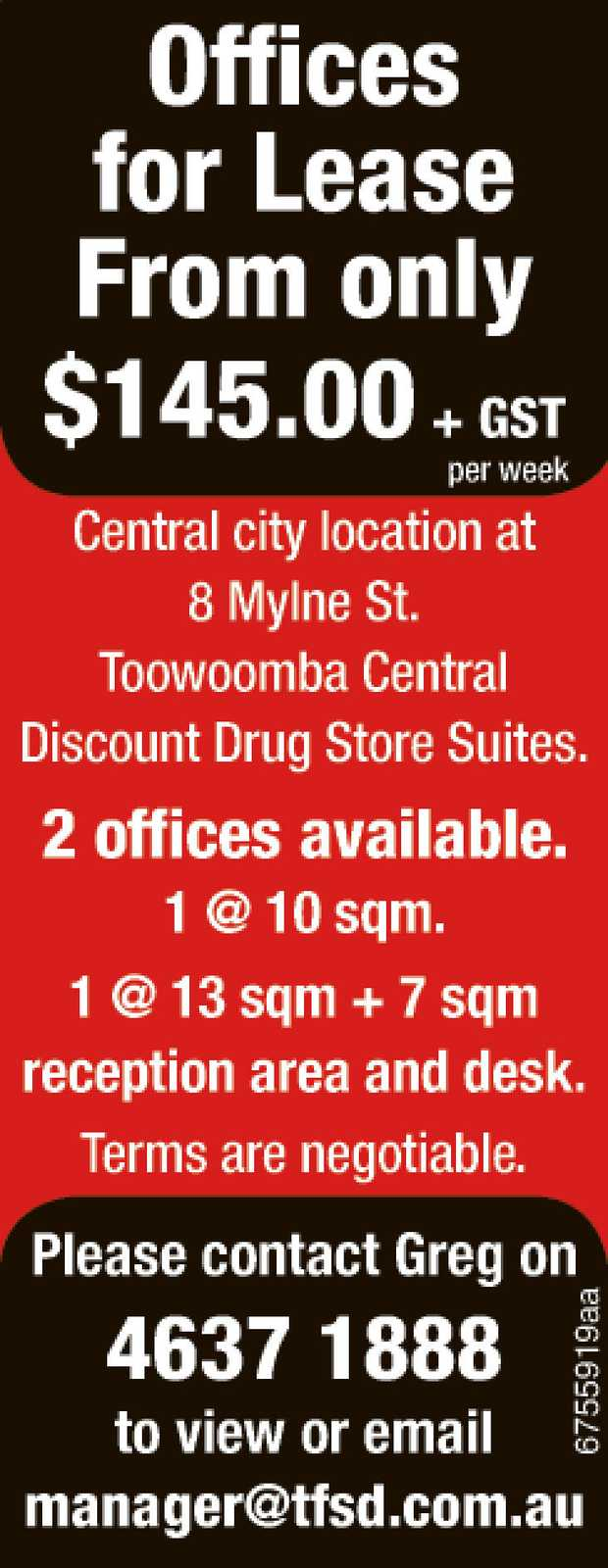 Offices for Lease From only $145.00 + GST per week   Central city location at 8 Mylne S...
