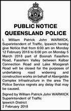 PUBLIC NOTICE QUEENSLAND POLICE