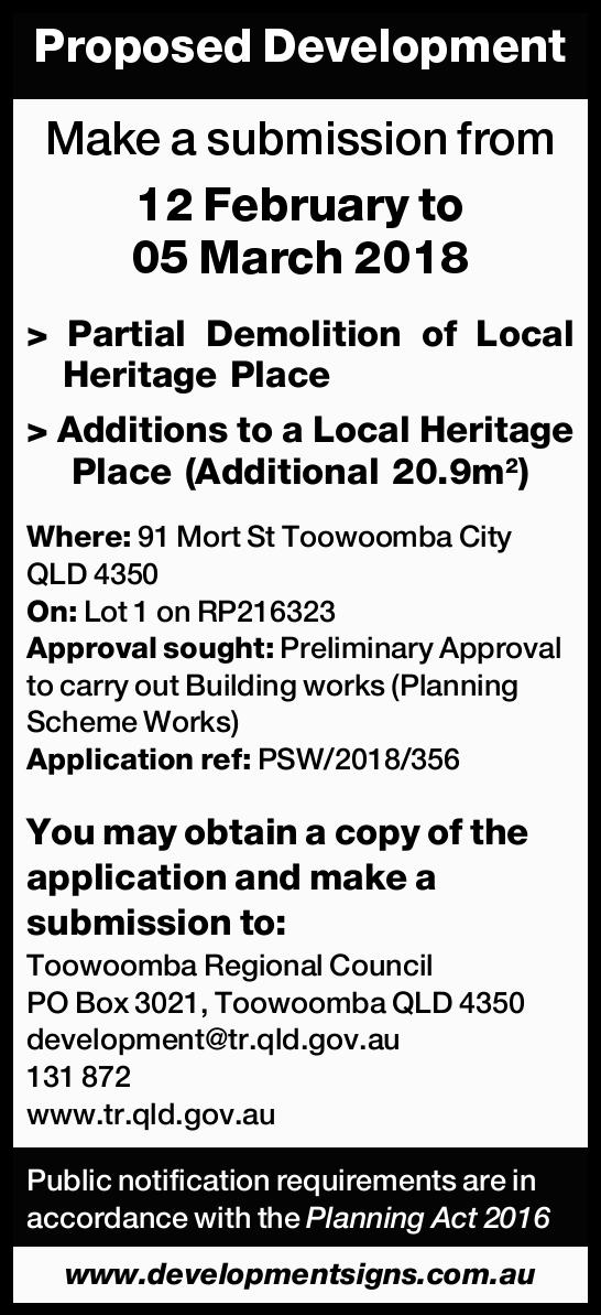 Proposed Development Make a submission from 12 February to 05 March 2018   > Partial Demol...
