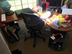 desk, bookcase, metal strong box