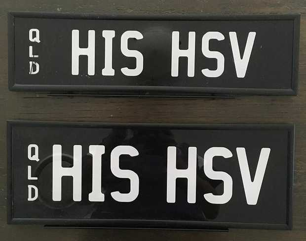 Customize your HSV with these prestige plates.   OUR HSV & HIS HSV   $4500 ea