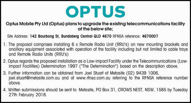 Optus Mobile Pty Ltd (Optus) plans to upgrade the existing telecommunications facility at the bel...