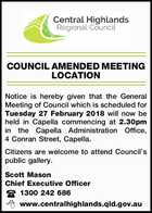COUNCIL AMENDED MEETING LOCATION