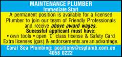 Immediate Start   A permanent position is available for a licensed Plumber to join our team o...