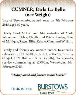 CUMNER, Dirla La-Belle (nee Wright) Late of Toowoomba, passed away on 7th February 2018, aged 69 yea...