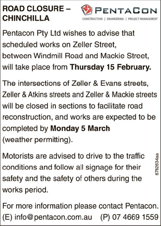 Road Closure - Chinchilla Pentacon Pty Ltd