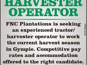 TraCTor / HarvesTer oPeraTor 6757764aa FNC Plantations is seeking an experienced tractor/ harvester operator to work the current harvest season in Gympie. Competitive pay rates and accommodation offered to the right candidate. If you are interested please forward your resume to macadamiafarmer@gmail.com