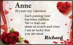 Anne Each passing year has been sublime We've had our share of scotch and wine I am so s lucky t...
