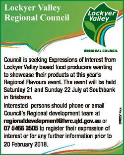Council is seeking Expressions of Interest from Lockyer Valley based food producers wanting to showc...