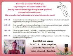 Workshops Empower your life with essential oils! Run by Remedial Massage Therapist and qualified...