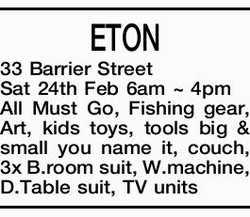 ETON 33 Barrier Street   Sat 24th Feb 6am ~ 4pm   All Must Go,   Fishing gear, Art, k...