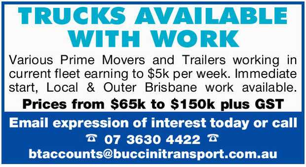 TRUCKS AVAILABLE WITH WORK 