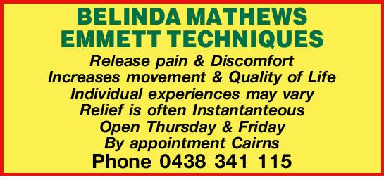BELINDA MATHEWS EMMETT TECHNIQUES   Release pain & Discomfort   Increases movement &a...